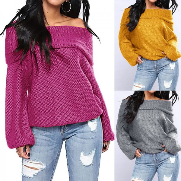 New Autumn Winter Knitted Sweater Women Causal Off Shoulder Long Sleeve Pullover Tops Women Sweater Pullovers Extra Image 3