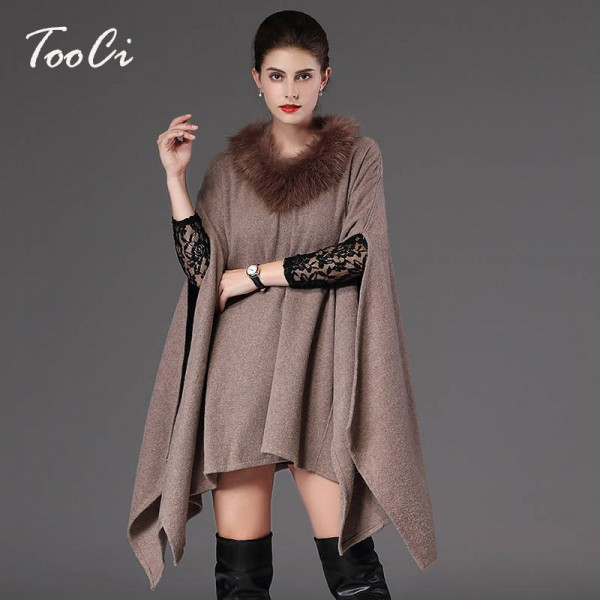 New Autumn Winter Long Pullover For Women Oversized Coat Knitted Poncho Sweater