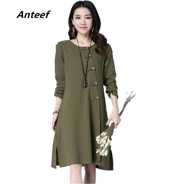 New Autumn Winter Spring Loose Fit Retro Vintage Linen Dress Long Knee Length Female Cardigan For Ladies Extra Image 1