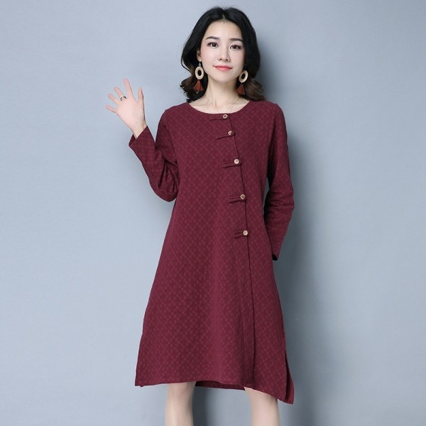 New Autumn Winter Spring Loose Fit Retro Vintage Linen Dress Long Knee Length Female Cardigan For Ladies Extra Image 3