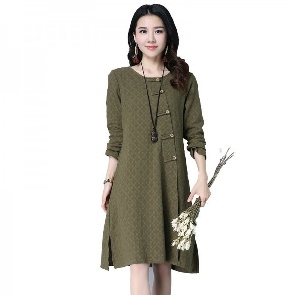 New Autumn Winter Spring Loose Fit Retro Vintage Linen Dress Long Knee Length Female Cardigan For Ladies Extra Image 6