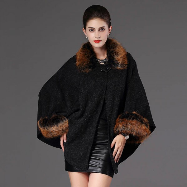 New Autumn Winter Warm Wrap Women Poncho Casual Cloak Warm Knitted Cardigan Women Extra Images 1