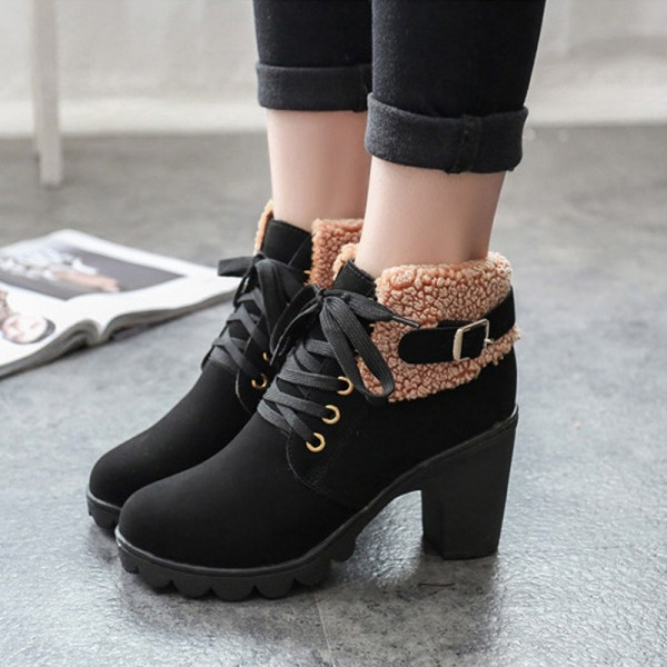 New Autumn Winter Women Boots High Quality Solid Lace Up Ankle shoes PU Leather Fashion High Heel Martin Boots Hot Sale Extra Image 2