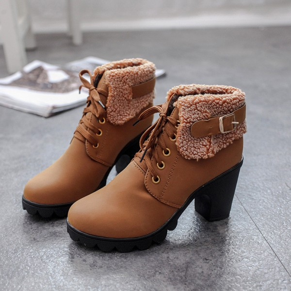 New Autumn Winter Women Boots High Quality Solid Lace Up Ankle shoes PU Leather Fashion High Heel Martin Boots Hot Sale Extra Image 3