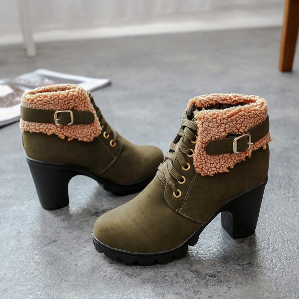 New Autumn Winter Women Boots High Quality Solid Lace Up Ankle shoes PU Leather Fashion High Heel Martin Boots Hot Sale Extra Image 4