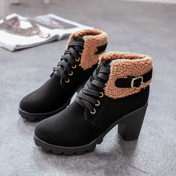 New Autumn Winter Women Boots High Quality Solid Lace Up Ankle shoes PU Leather Fashion High Heel Martin Boots Hot Sale Extra Image 5