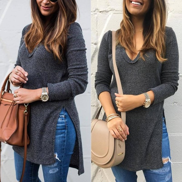 New Autumn Women Sweater Pullover Basic Solid Knitted Sweaters Long Sleeve V Neck Side Split Casual Sweater Women Tops Extra Image 3