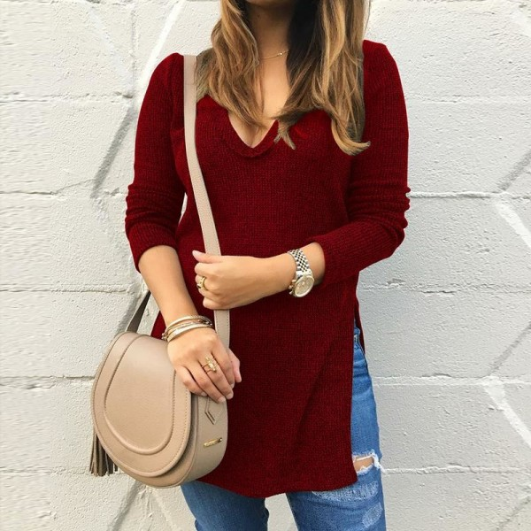 New Autumn Women Sweater Pullover Basic Solid Knitted Sweaters Long Sleeve V Neck Side Split Casual Sweater Women Tops Extra Image 5