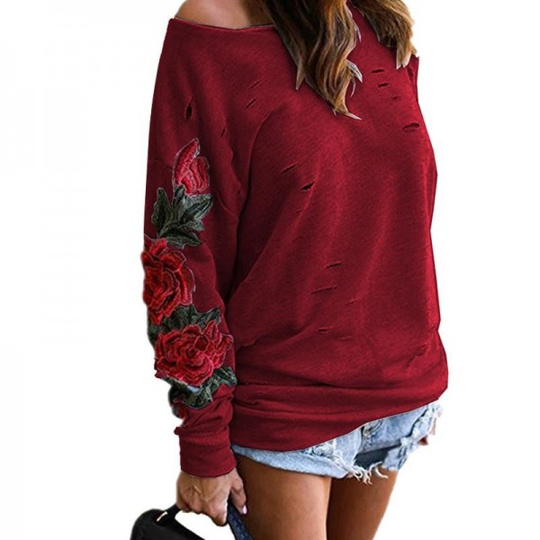New Brand Autumn Hooded Sweatshirt Women Elegant Embroidery Harajuku Flowers Hoodies Loose Long Sleeve Sweatshirt