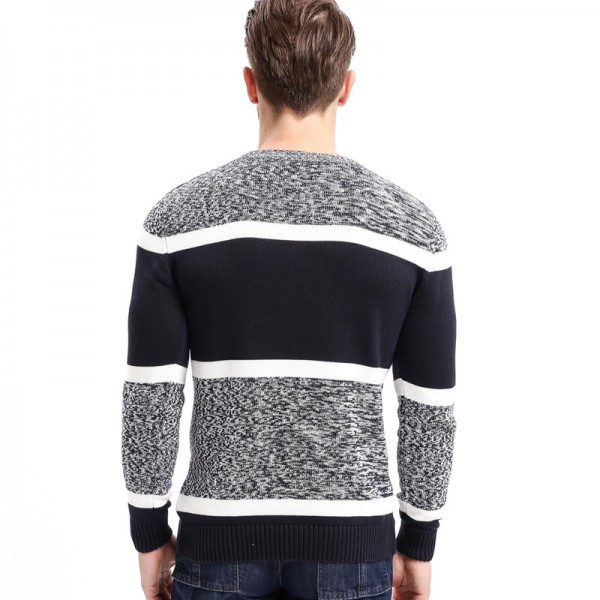 New Brand Autumn Mens Sweaters Cotton Gray Color Knitted Clothing Man Knitwear Pullovers Knitting Tops Extra Image 2