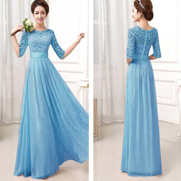 New Brand Formal Gown Lace Chiffon Long Evening Prom Dress Half ...
