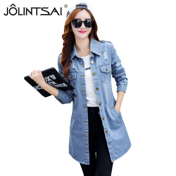New Brand Women Fashion Jeans Jacket Vintage Plus Size Autumn Casual Long Sleeve Hole Stretch Long Denim Jacket Coat Extra Image 1