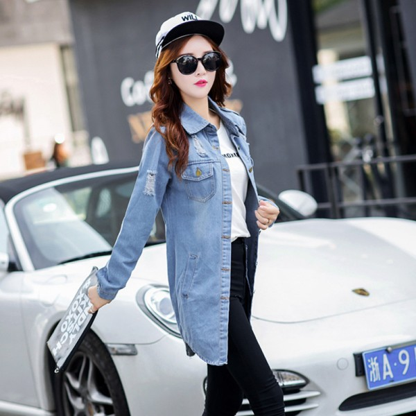 New Brand Women Fashion Jeans Jacket Vintage Plus Size Autumn Casual Long Sleeve Hole Stretch Long Denim Jacket Coat Extra Image 2