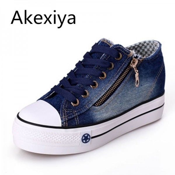 New Canvas Shoes Fashion Leisure Women Shoes Female Casual Shoes Cocktail Jeans Blue Female Footwear Extra Image 1