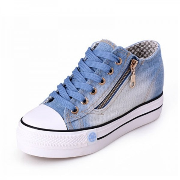 New Canvas Shoes Fashion Leisure Women Shoes Female Casual Shoes Cocktail Jeans Blue Female Footwear Extra Image 2