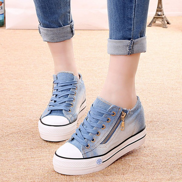 New Canvas Shoes Fashion Leisure Women Shoes Female Casual Shoes Cocktail Jeans Blue Female Footwear Extra Image 4