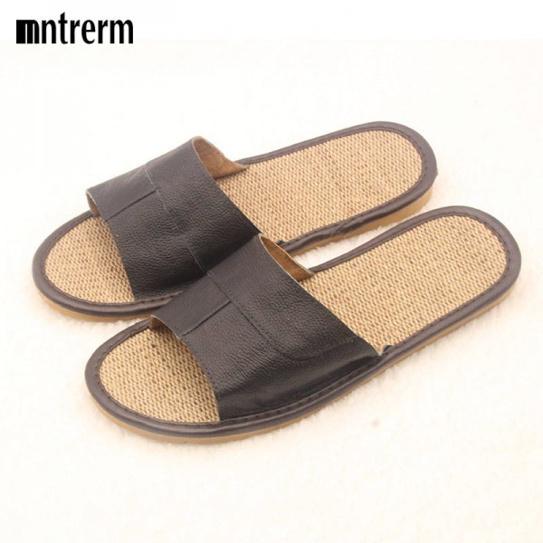 New Casual Men Summer Leather Linen Sandals Slippers Flip Flop For Men Thumbnail