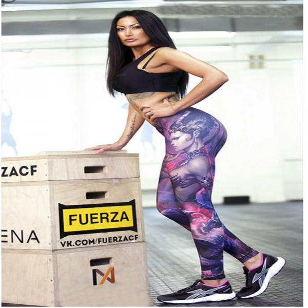 New compression pants women high Waist purple magical 3D print Skinny Leggings Slim fitness wicking polyester jeggings Extra Image 5