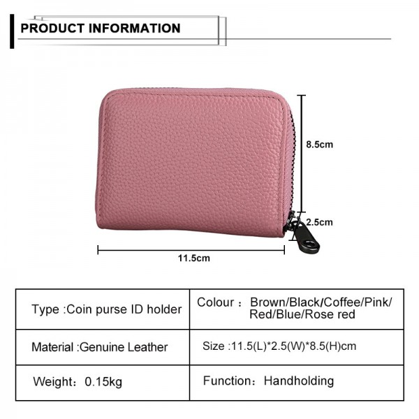 New Design Unisex Short Zipper Wallet Genuine Leather Credit Card Money Cash Holder Ladies ID Case Extra Image 3