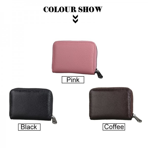 New Design Unisex Short Zipper Wallet Genuine Leather Credit Card Money Cash Holder Ladies ID Case Extra Image 4