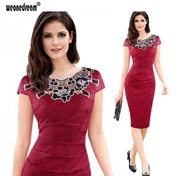 New Dress Evening Sexy Hollow Out Vintage Embroidery Pencil Dress Midi Bodycon Evening Party Prom Dress Thumbnail