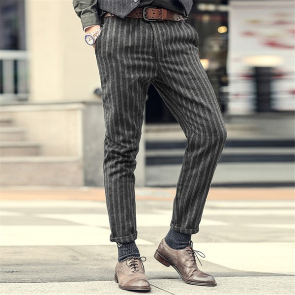 New England Style Spring Men Slim Fit Straight Suit Pants Male Casual stripe Skinny suit pants business trousers Extra Image 2