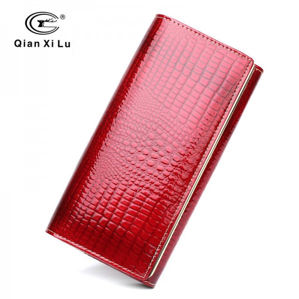 New Fashion Alligator Wallets For Women Patent Leather Purse Genuine Leather Purse For Women Thumbnail