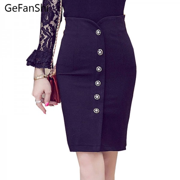 New Fashion Autumn Spring High Waist Single Breasted Slim Pencil Skirt For Women Thumbnail