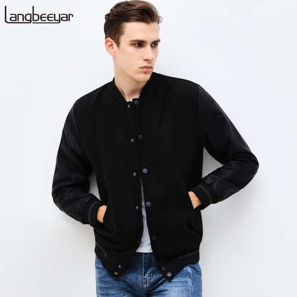 New Fashion Brand Clothing Jacket Men Casual Letter Patchwork Sleeve Mens Coat Mandarin Collar Men Autumn Jacket S 6XL Extra Image 1