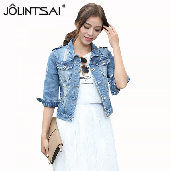 New Fashion Brand Women Plus Size 5XL Spirng Fall Denim Jacket Vintage Fashion Three Quarter Short Oversized Denim Coat Extra Image 1