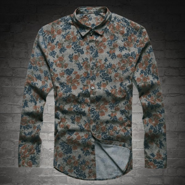 New Fashion Casual Men Shirt Long Sleeve Europe Style Slim Fit Shirt Men High Quality Cotton Floral Shirts Mens Clothes Extra Image 2