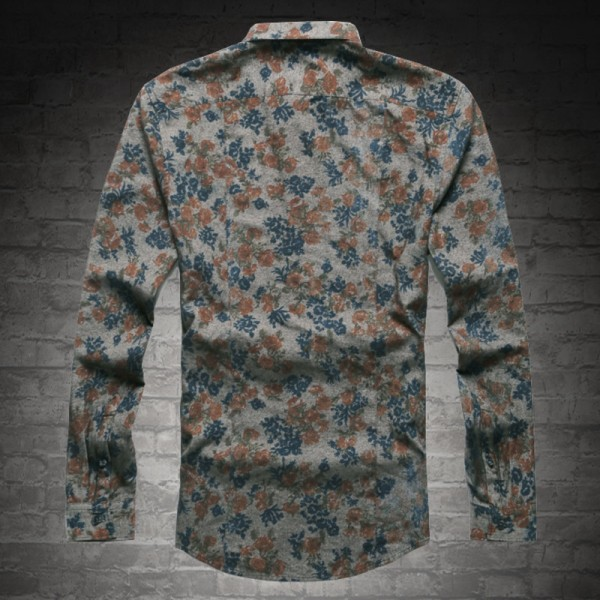 New Fashion Casual Men Shirt Long Sleeve Europe Style Slim Fit Shirt Men High Quality Cotton Floral Shirts Mens Clothes Extra Image 3