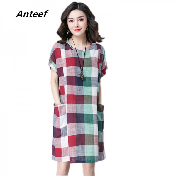 New Fashion Cotton Linen Knee Length Casual Loose Fit Autumn Vintage Mini Dress For Women Extra Image 1