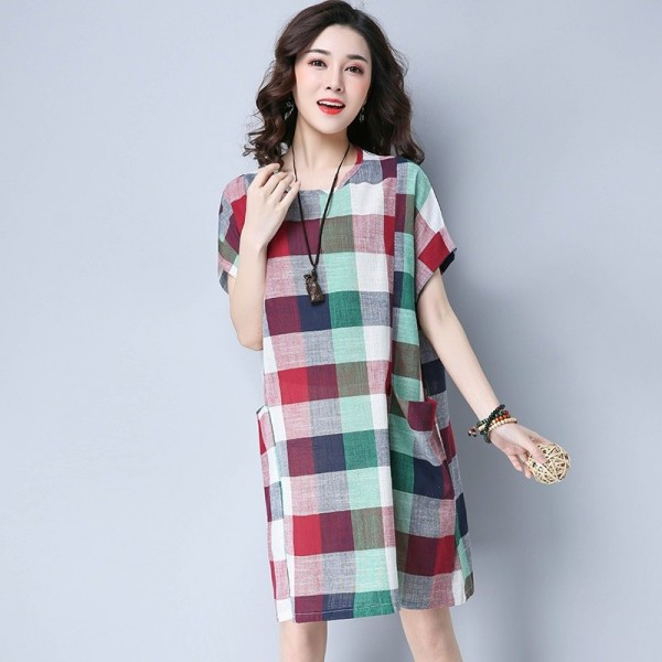 New Fashion Cotton Linen Knee Length Casual Loose Fit Autumn Vintage Mini Dress For Women Extra Image 4