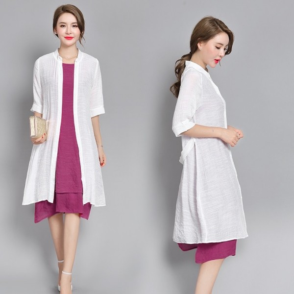 New Fashion Cotton Linen Plus Size Casual Loose Summer Dress Two Piece Mini Dress For Women Extra Image 4