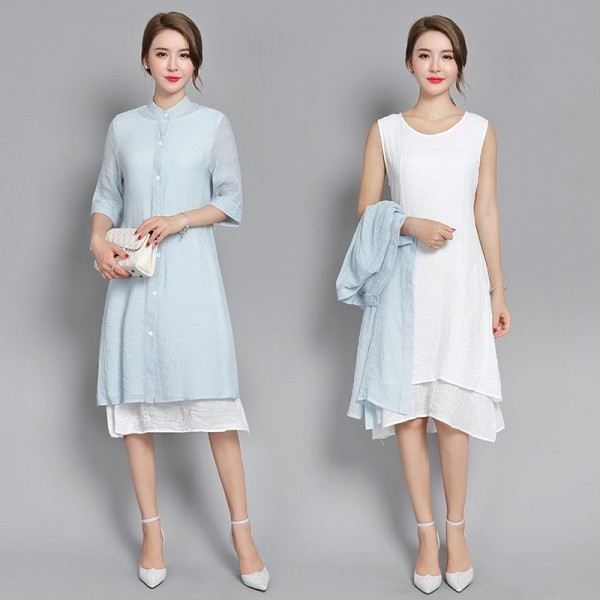New Fashion Cotton Linen Plus Size Casual Loose Summer Dress Two Piece Mini Dress For Women