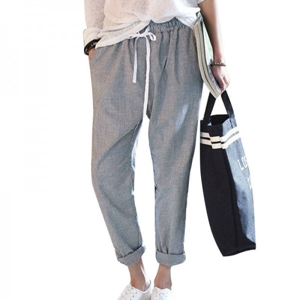 New Fashion Cotton Pants Striped Casual Trousers Slim Fit Loose Design For Women