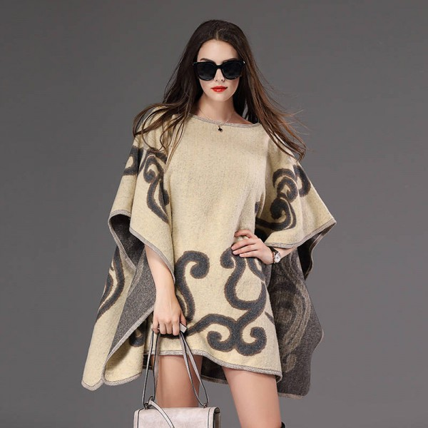 New Fashion Fall Winter Women Pullover Sweater Loose Poncho Jacquard Pullover Women Extra Images 1