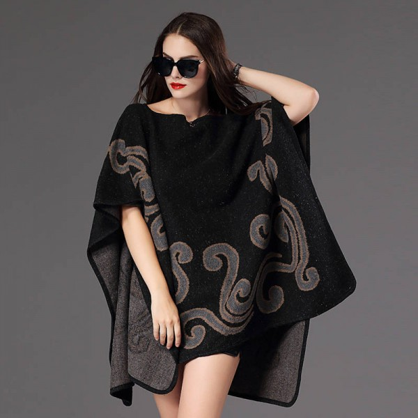 New Fashion Fall Winter Women Pullover Sweater Loose Poncho Jacquard Pullover Women Extra Images 2