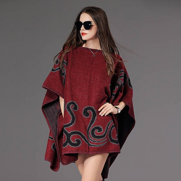 New Fashion Fall Winter Women Pullover Sweater Loose Poncho Jacquard Pullover Women Extra Images 3