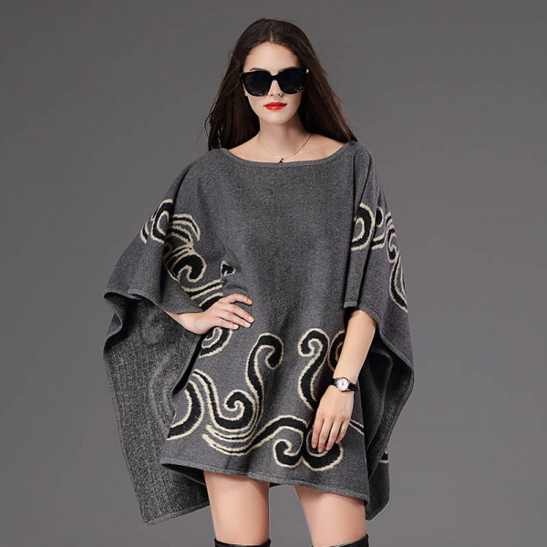 New Fashion Fall Winter Women Pullover Sweater Loose Poncho Jacquard Pullover Women Extra Images 4