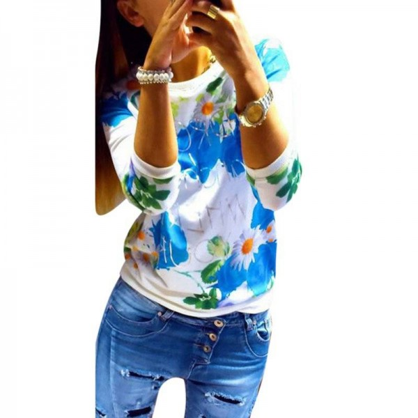 New Fashion Floral Print Long Sleeve Women Tops Casual T Shirt For Women Thumbnail