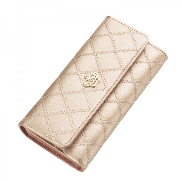 New Fashion High Capacity Women Wallets Gold Metal Crown Day Clutch Purse Wallet For Women Thumbnail