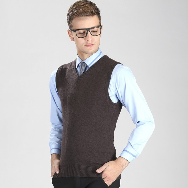 New Fashion Knitted Vest Winter Mens Pullover Knitted Sweater Sleeveless V Neck Casual Mens Sweaters And Pullovers Extra Image 6