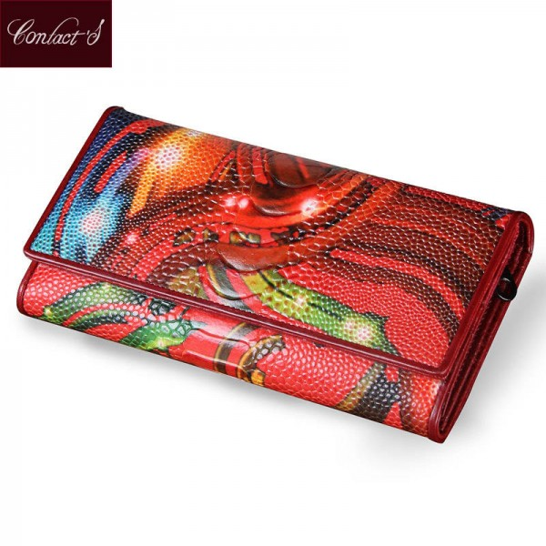 New Fashion Leather Women Wallet Vintage Flower Printed Long Clutch Purse Cardholders Women Thumbnail