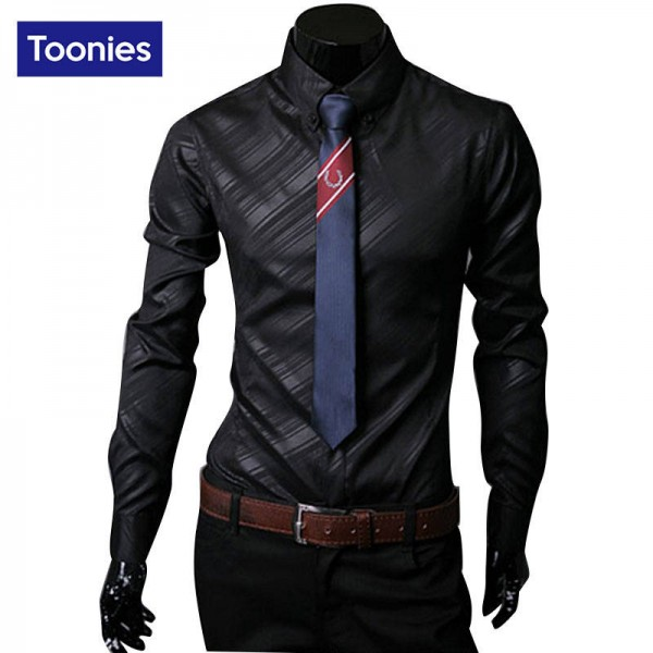 New Fashion Long Sleeve Camisa Para Hombre Casual Slimfit Shirt For Men Thumbnail