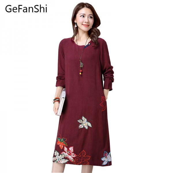 New Fashion Long Sleeve Elegant Cotton Linen Vintage Dress Chinese Style For Women Thumbnail