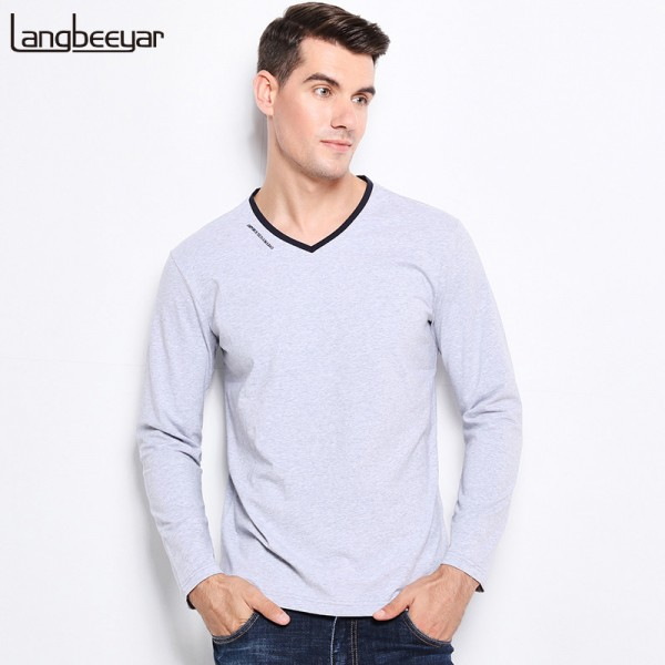 New Fashion Men Clothes Tee Shirt Trend V Neck Slim Fit Long Sleeve T Shirt Men Mercerized Cotton Casual Mens T Shirts Extra Image 1