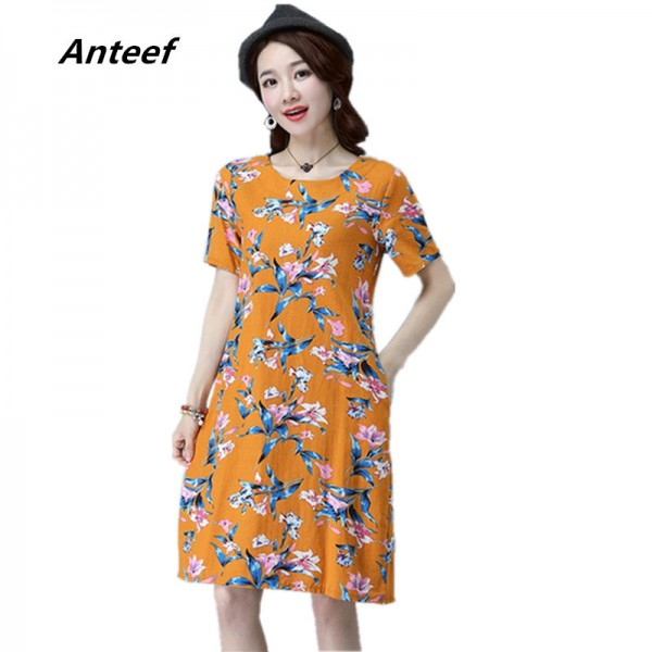 New Fashion O Neck Knee Length Loose Fit Summer Autumn Party Dress Cotton Linen Vintage Print Women Dress Extra Image 1