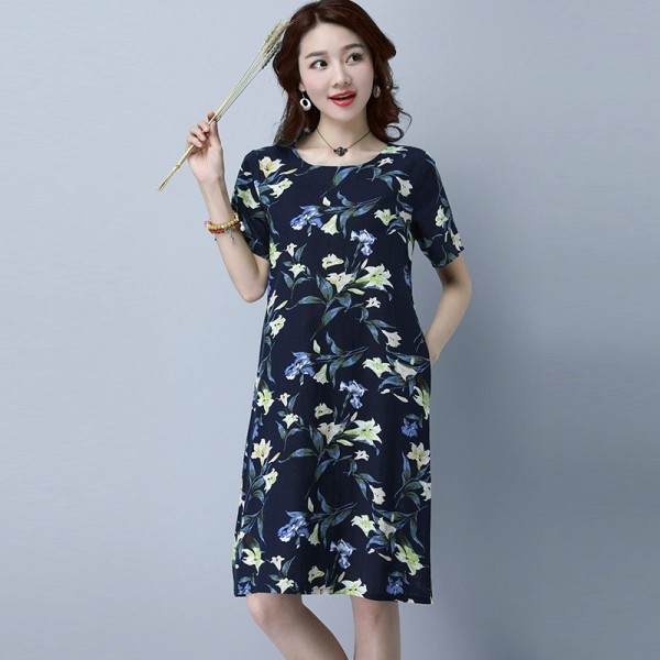 New Fashion O Neck Knee Length Loose Fit Summer Autumn Party Dress Cotton Linen Vintage Print Women Dress Extra Image 2